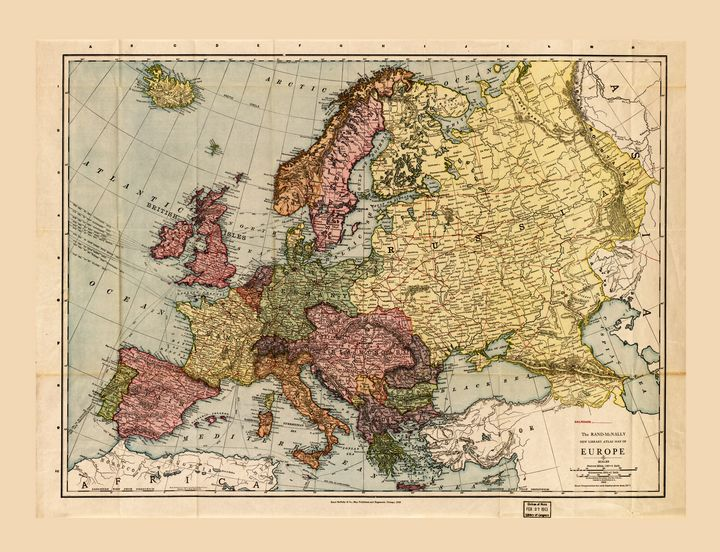 Rand McNally Map of Europe (1912) - Yvonne
