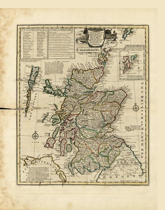 Map of Scotland by E. Bowen (1752) - Yvonne