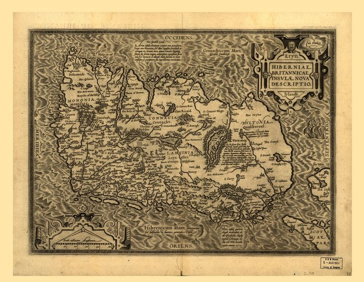 Map of Ireland by A. Ortelius (1598) - Yvonne
