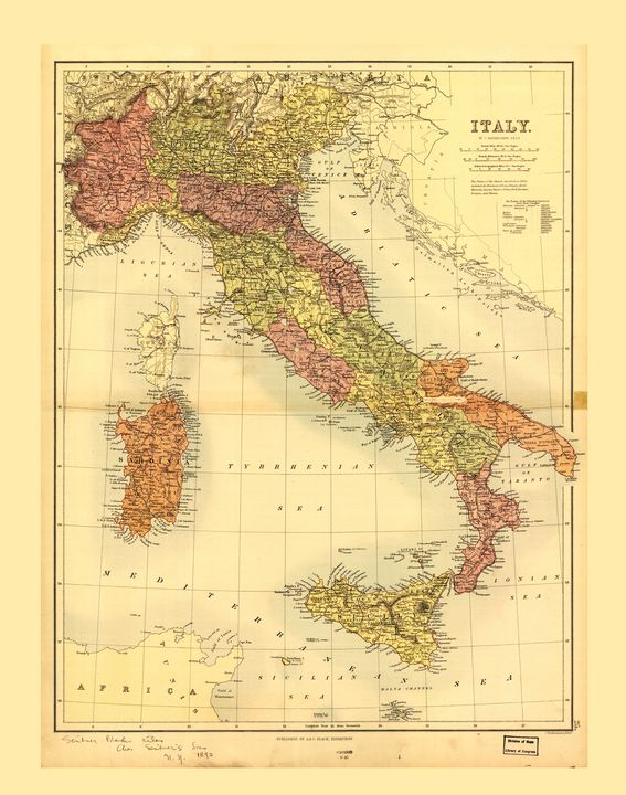 Map of Italy (1890) - Yvonne