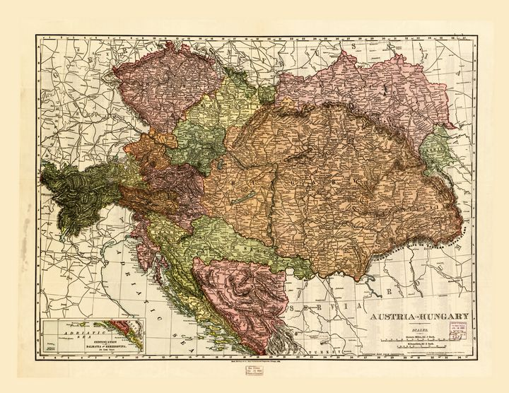 Map of Austria-Hungary (1906) - Yvonne