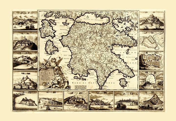 Map of Peloponnesus, Greece (1688) - Yvonne