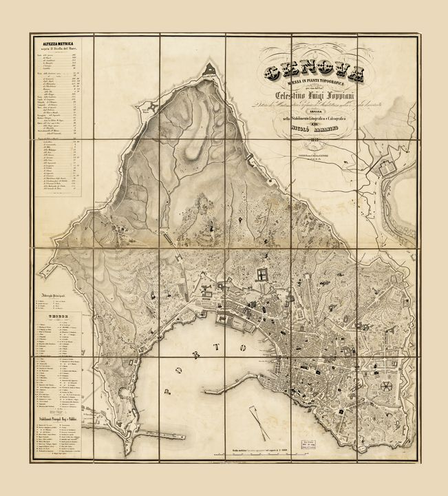 Map of Genoa, Italy (1853) - Yvonne