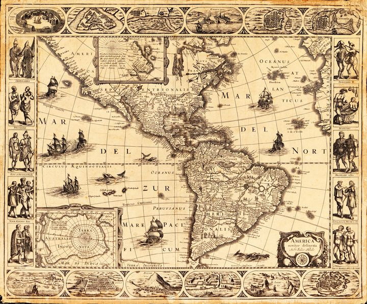 North and South America Map (1622) - Yvonne