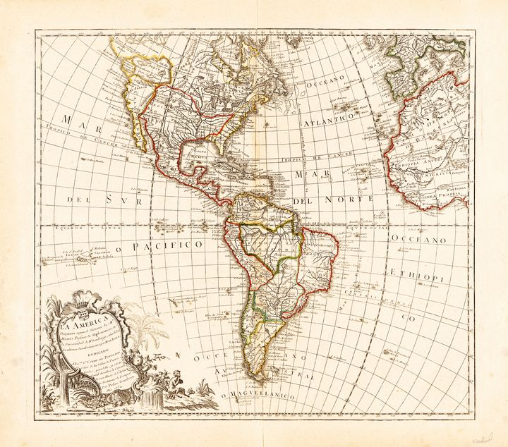 North and South America Map (1754) - Yvonne