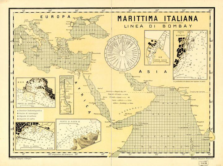 Italian Maritime: Bombay Line Map - Yvonne