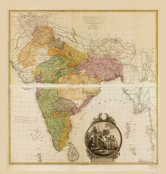 Map of Hindoostan (India) 1782 - Yvonne