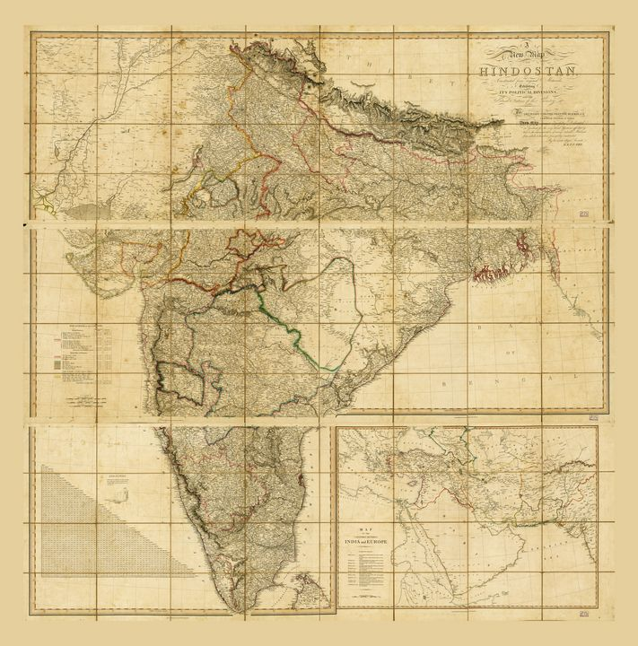 Map of India (Hindostan) from 1824 - Yvonne