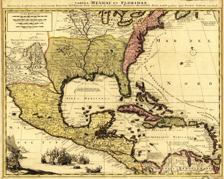 Map of Central America (1710) - Yvonne