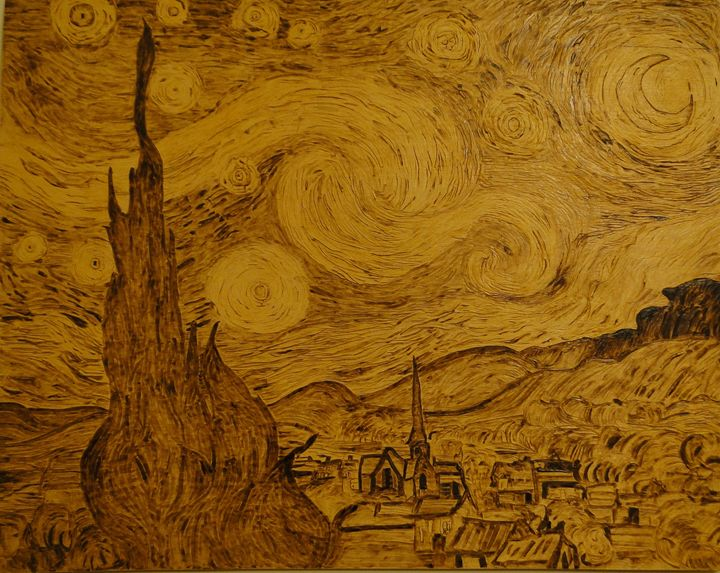 Pyrography Illustration Starry Night - Pyrography Art