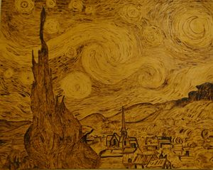 Pyrography Illustration Starry Night