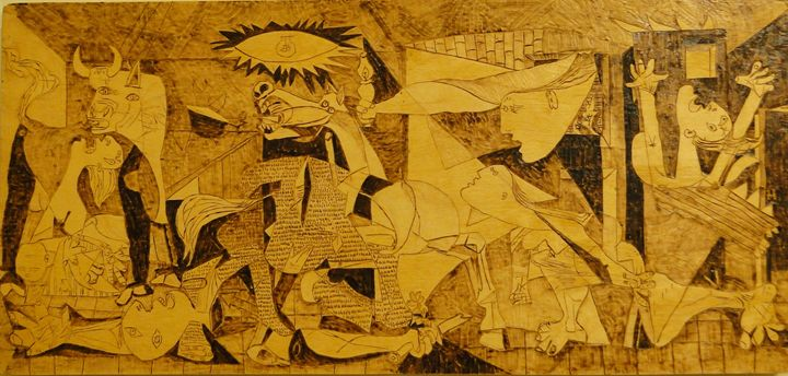 Pyrography Illustration Guernica - Pyrography Art