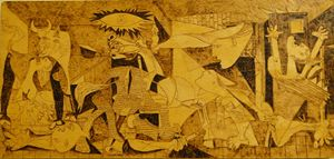 Pyrography Illustration Guernica