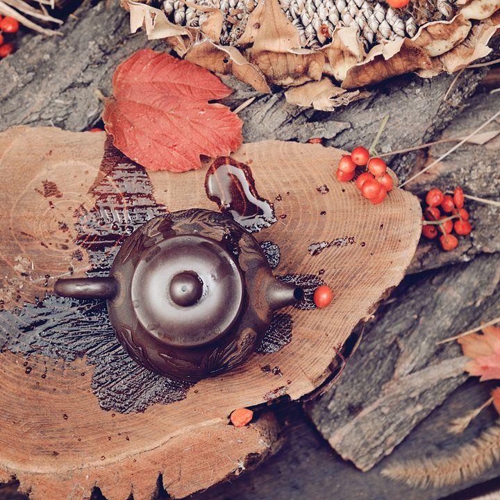 Ceramic Teapot on a Slice of wood - MorozV