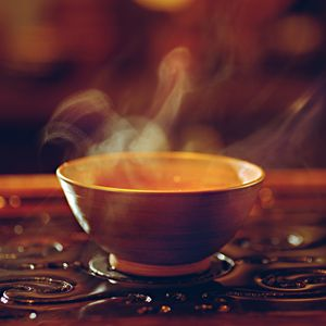 steaming tea in a bowl
