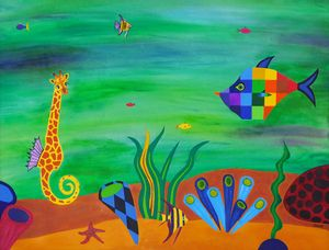 Sea Giraffe and Rainbow Fish - Frank Gelott