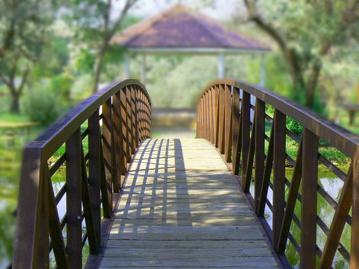 Footbridge to Gazebo - Blue Blue Sky Creations