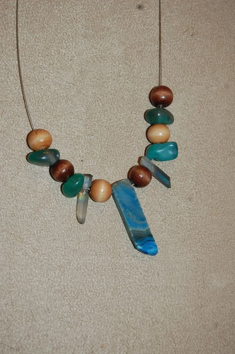 Agate and Wood - Blue Blue Sky Creations