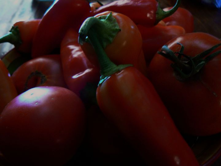 Red Peppers and Tomatoes - Blue Blue Sky Creations