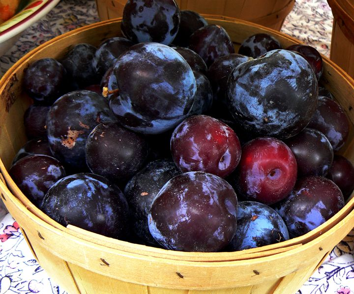 basket of plums - Blue Blue Sky Creations