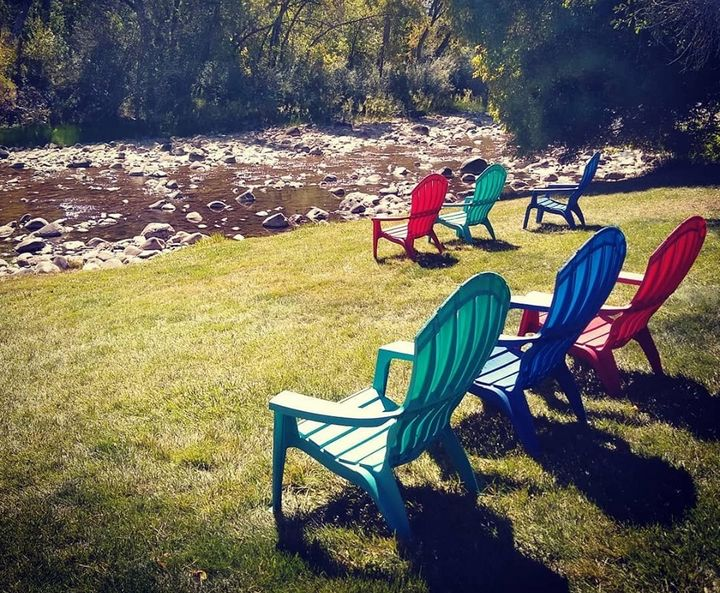 Chairs by the river - Blue Blue Sky Creations
