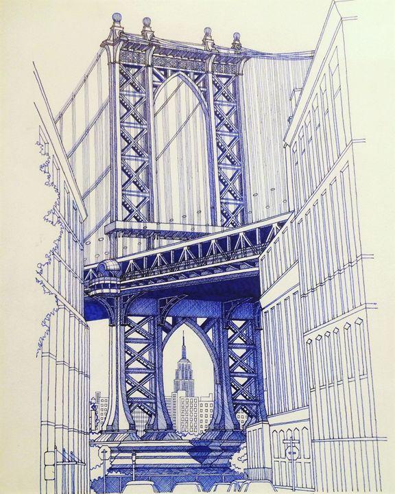 Manhattan Bridge - Man in blue artist
