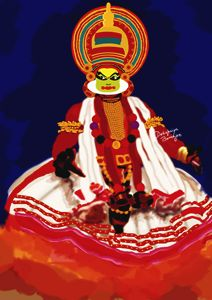 Painting of Kathakali Dancer - Debopriya Banerjee