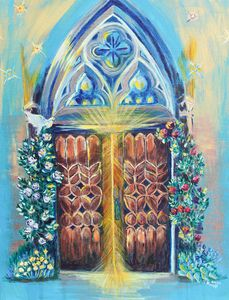 Chapel Door with Roses - Bohemian Gal