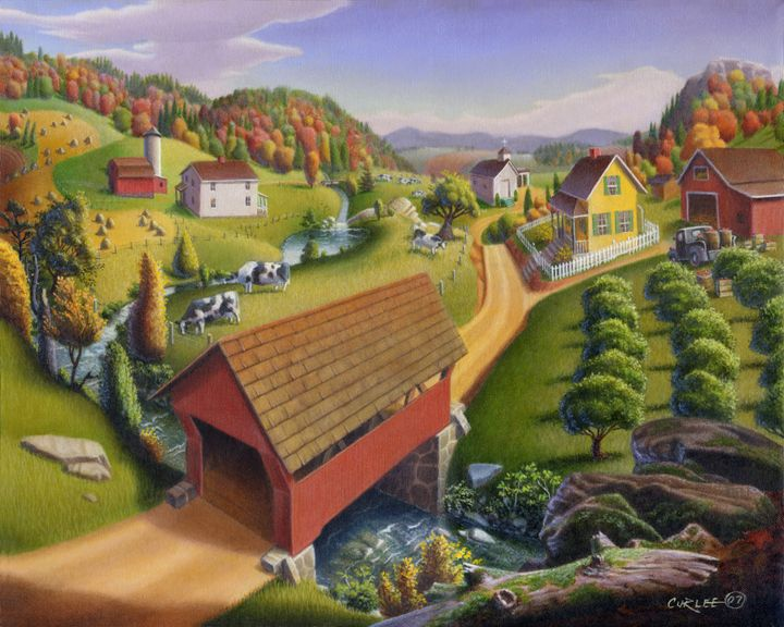 Covered Bridge Farm Landscape Art - Walt Curlee Fine Art & Prints
