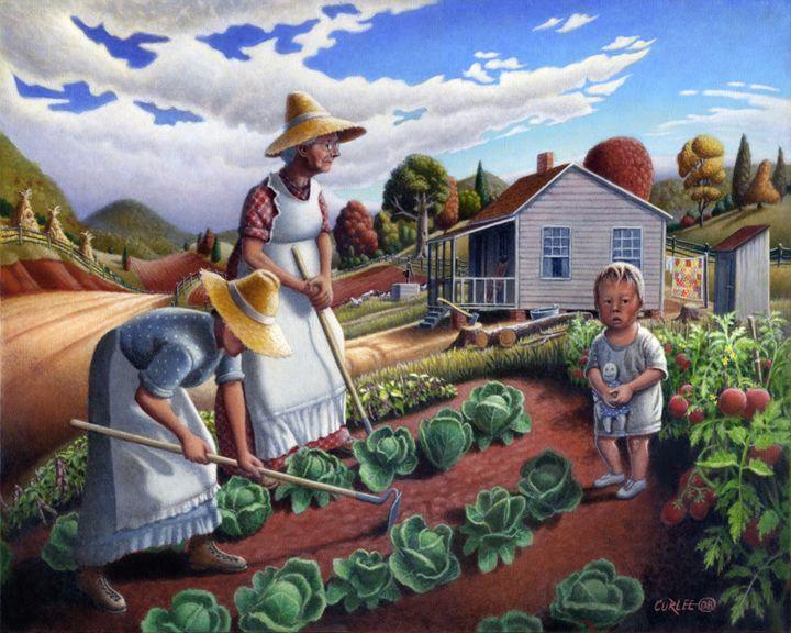 Family Garden Farm Landscape - Walt Curlee Fine Art & Prints