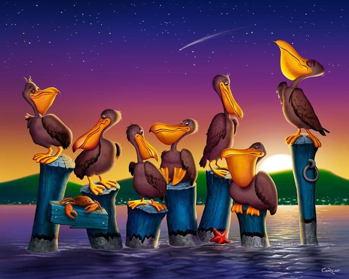 Pelican Sunset 1 Cartoon Art - Walt Curlee Fine Art & Prints