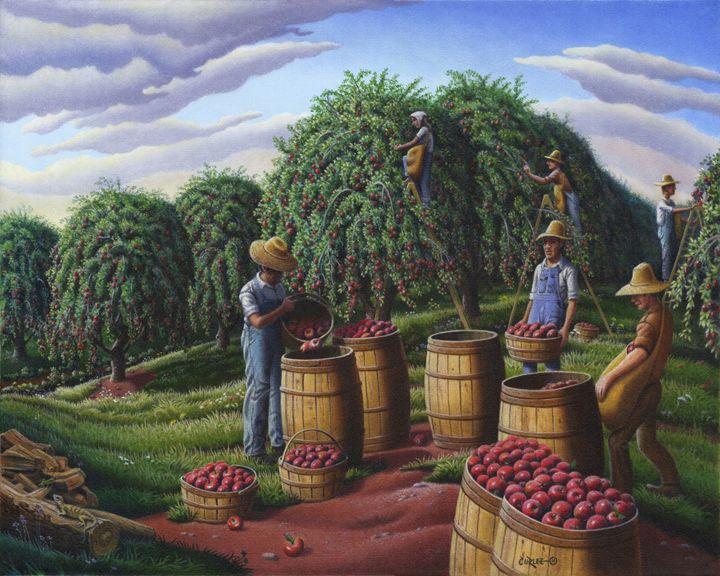 Fall Apple Harvest Farm Landscape - Walt Curlee Fine Art & Prints