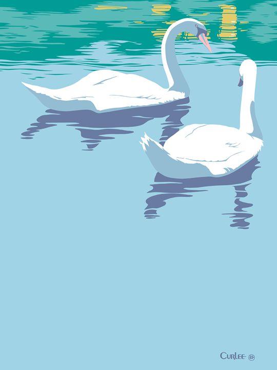 Abstract Swans bird lake pop art - Walt Curlee Fine Art & Prints