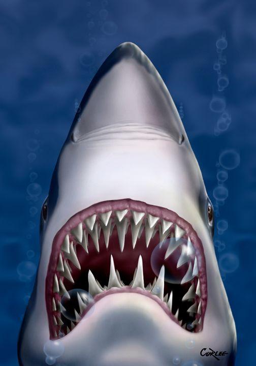 Jaws Great White Shark Art - Walt Curlee Fine Art & Prints