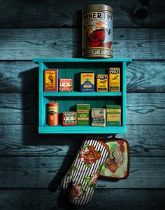 Vintage Spice Tins Stilllife In Blue - Walt Curlee Fine Art & Prints