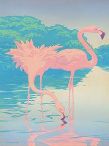 Two Pink Flamingos Pop Art - Walt Curlee Fine Art & Prints