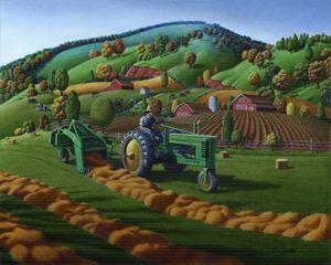 Farmer Tractor Baling Hay Landscape - Walt Curlee Fine Art & Prints
