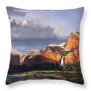 Deer in the Meadow Throw Pillow