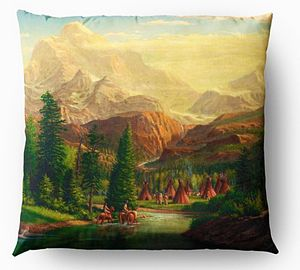 Trapper Indian Village Throw Pillow
