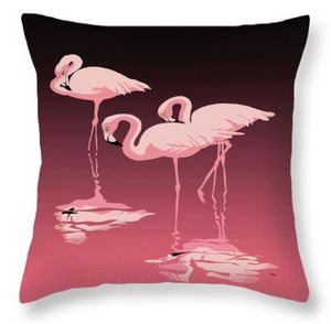 Three Pink Flamingos 2 Throw Pillow