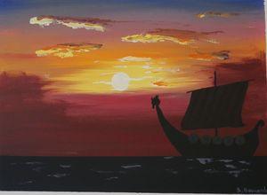 Viking ship sailing at sunset