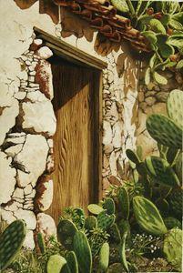 Puerta con Nopales-50 x 75 cm