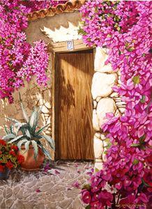 Puerta con Buganvilla 55 x 75 cm - Robert C. Murray II