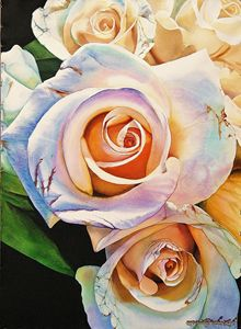 Rainbow Roses, Watercolor 55 x 75 cm - Robert C. Murray II