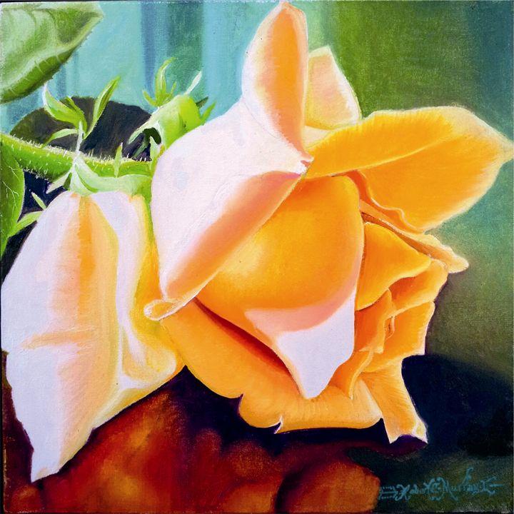 Yellow Fire Rose-Oil on Canvas-30 x - Robert C. Murray II