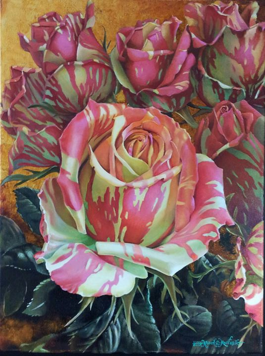 Pink and Yellow Zebra Striped Roses - Robert C. Murray II