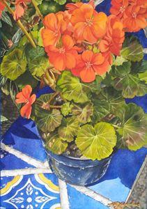 Geranios y Azulejos-35 x 50 cm - Robert C. Murray II