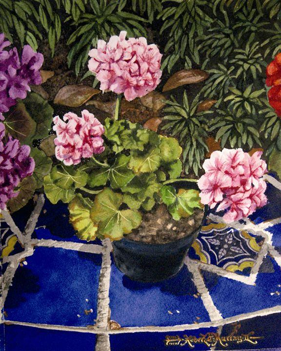 Geranios y Azulejos-19 x 24 cm - Robert C. Murray II
