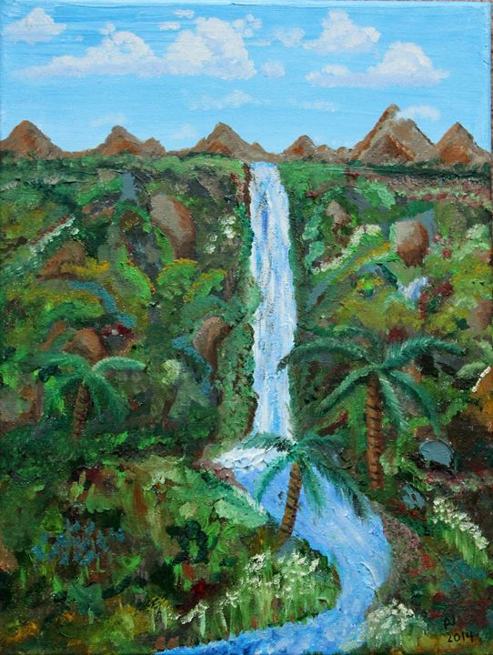 Tropical Waterfall - Sheaffer Art Gallery
