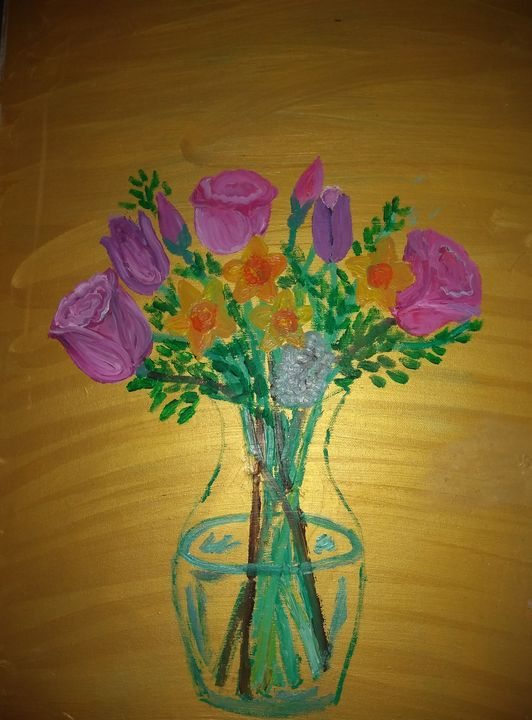 Pink roses and narcissi - Art creations